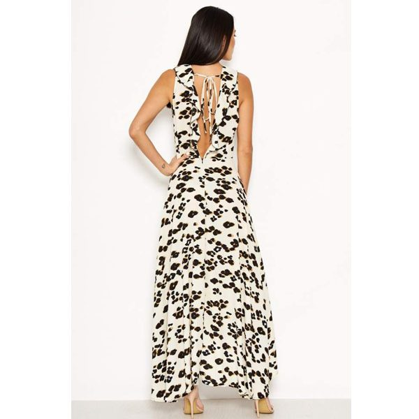 Cream Leopard Maxi Dress