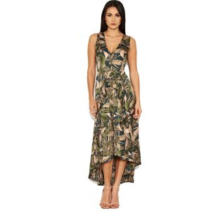 Khaki Leaf Print Dress