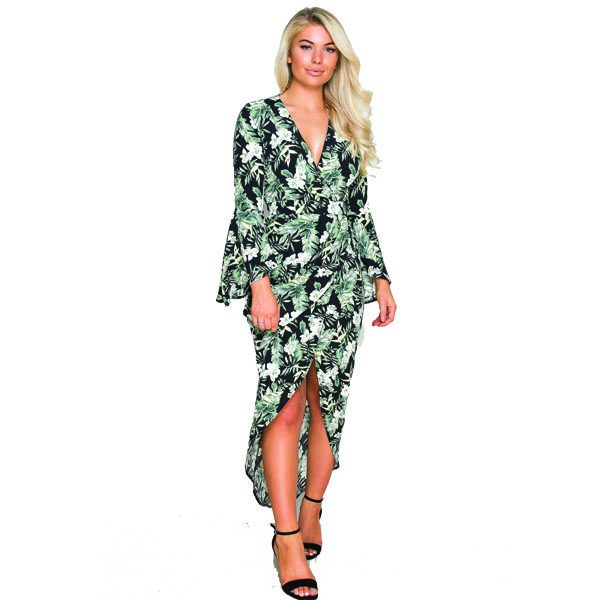 Green And Black Floral Dress