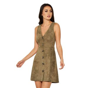 Khaki Suedette Skater Dress