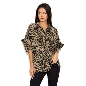 Khaki Zebra Blouse