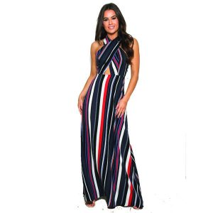 Navy Red Stripe Maxi
