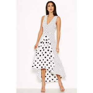 White Polka Dot Frill Dress
