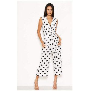 White Polka Dot Culotte Suit