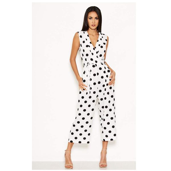 White Polka Dot Culotte Suit