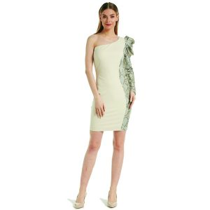 Beige And Snake One Shoulder Dress