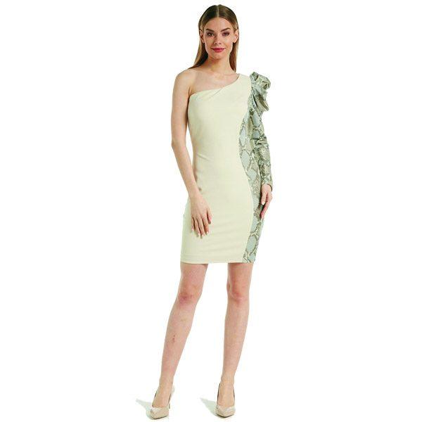 Beige And Snake One Shoulder Dress