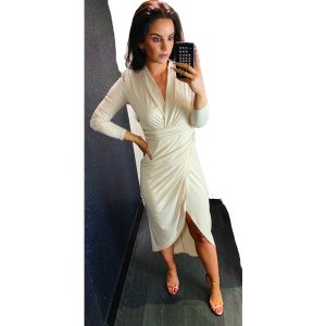 Beige Ruched Long Sleeve Dress