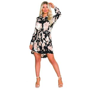 Beige and Black floral shirt-dress