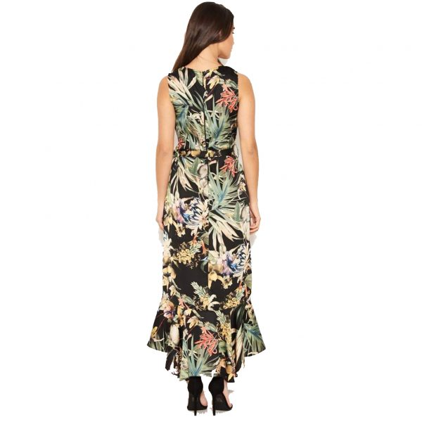 Black Floral Midi Wrap Dress