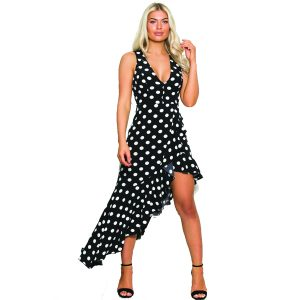 Black And White Polka Dot Frill Dress