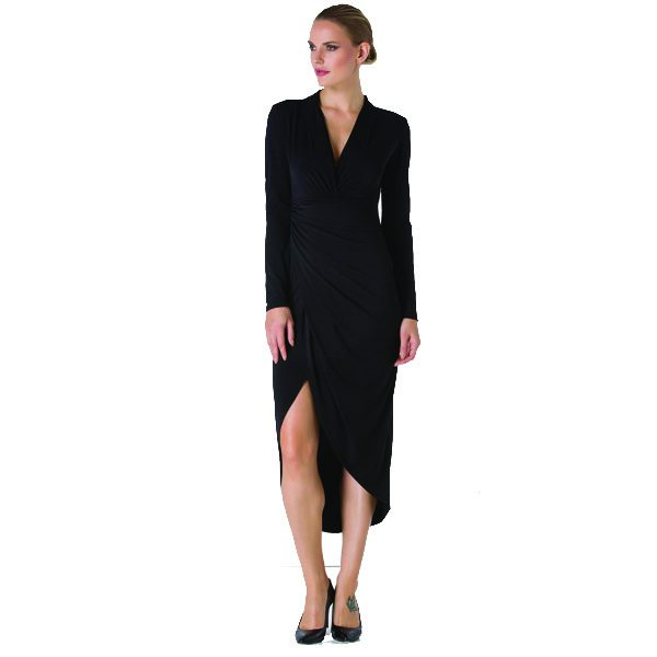 Black Ruched Long Sleeve Dress
