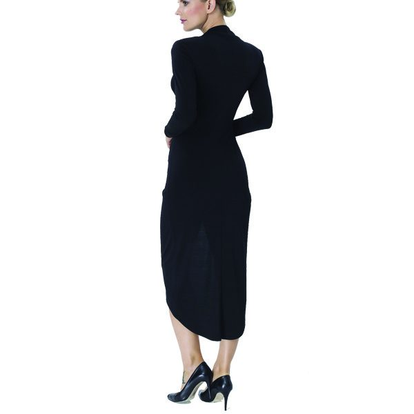Black Ruched Long Sleeve Dress