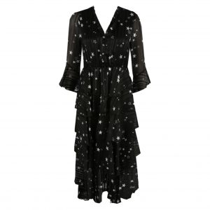 Black Star Print Layered Dress