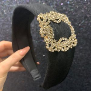 Black With Diamante Brooch