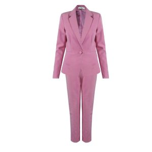 Blush Pink Two Piece Trouser Suit