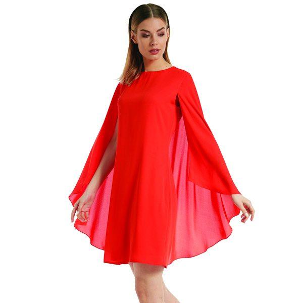 Coral Cape Dress