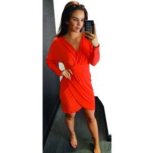 Short Coral Ruched Dress