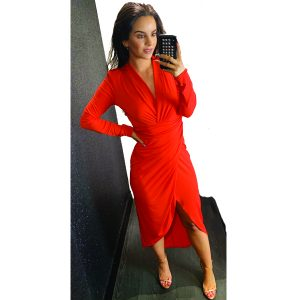 Coral Ruched Long Sleeve Dress