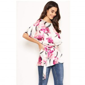 Cream Floral Round Neck Top