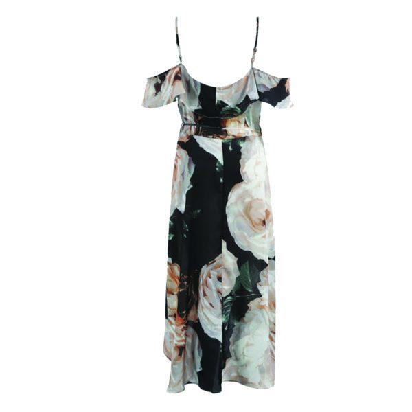 Floral Cold Shoulder Wrap Dress