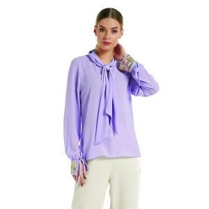 Lilac Blouse Sequin Sleeve