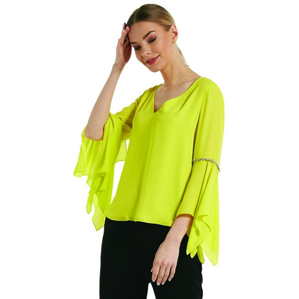 Lime Diamante Frill Sleeve Top