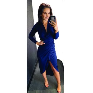 Navy Long Sleeve Ruched Dress