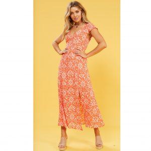 Orange Floral Midi Dress