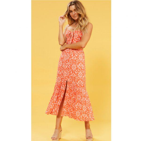 Orange Floral Midi Skirt