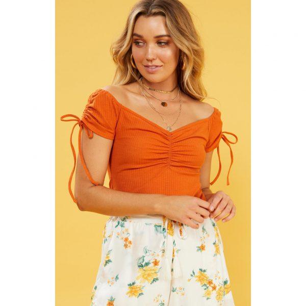 Orange Ruched Top