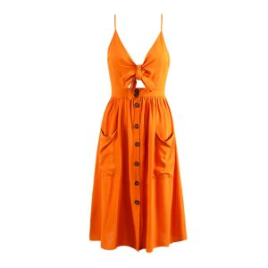 Orange Tie Front Dress