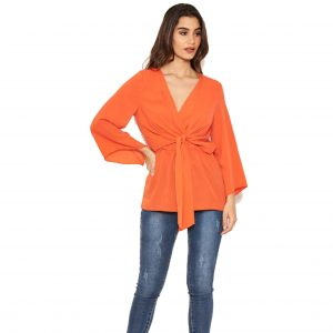 Orange Wrap Top