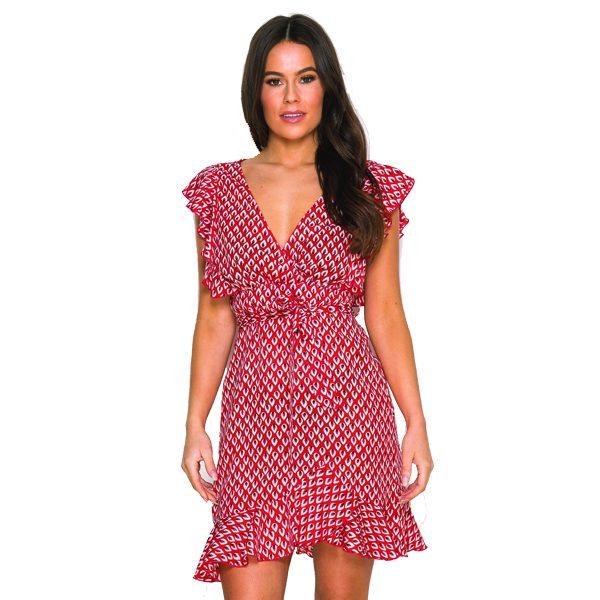 Red Print Short Dress