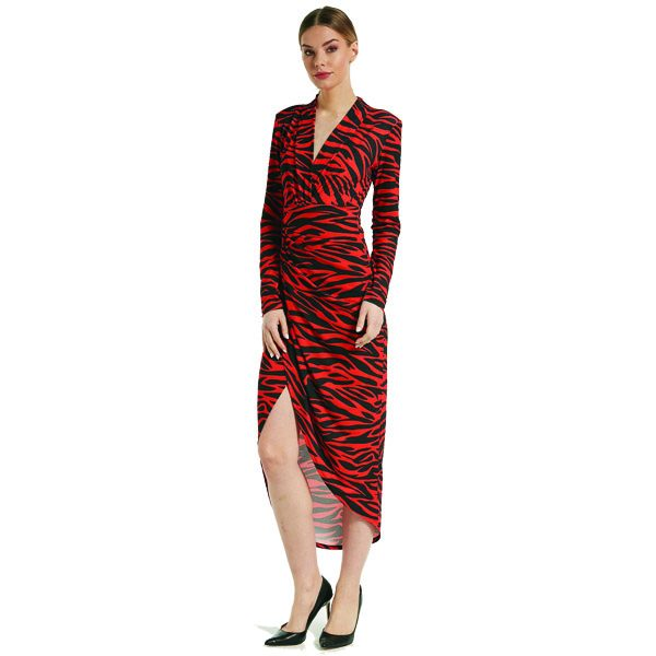 Red Zebra Ruched Long Sleeve Dress
