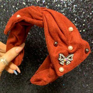 Rust Velvet Pearl Hairband