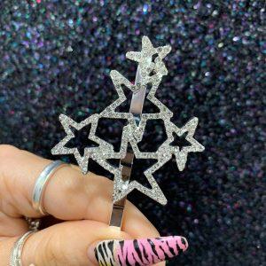 Silver Diamante Star Clip