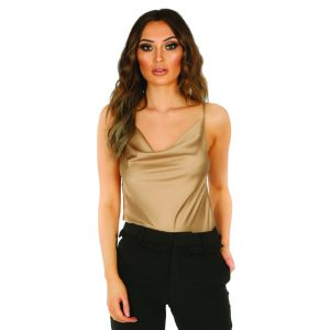 Taupe Stain Cowl Neck Cami