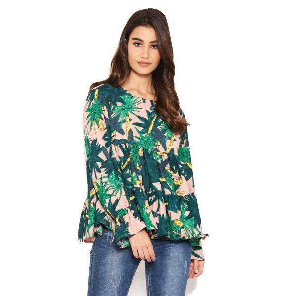 Tropical Print Smock Dress