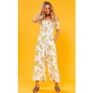 White And Lemon Floral Jumpsuit