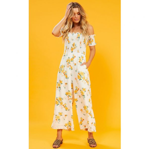 White And Lemon Floral Jumpsuit