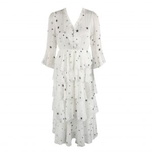 White Star Print Layered Dress