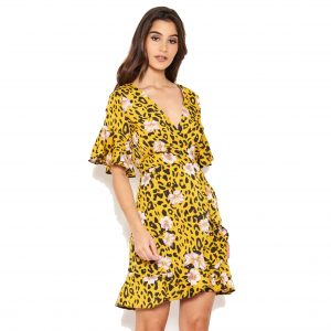 Yellow Leopard and Floral Dress