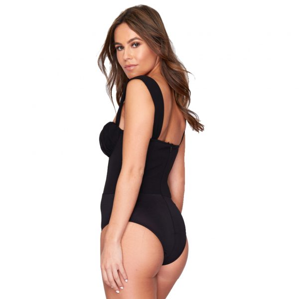 Black Ruched Cup Detail Bodysuit