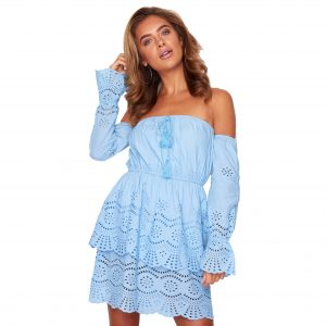 Blue Broderie Anglaise Bardot Dress
