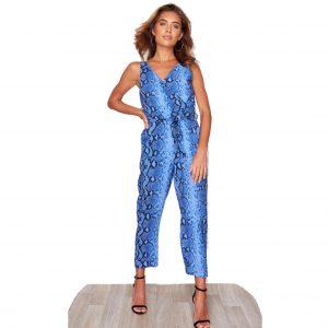 Blue Snake Print Jumpsuit