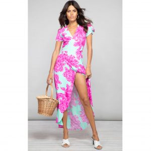 Dancing Leopard Cayenne Dress Pink on Mint Bloom