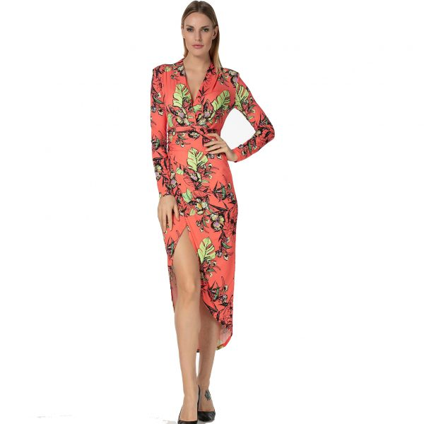 Coral Ruched floral Dress