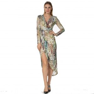 Green Leopard Print Ruched Long Sleeve Dress