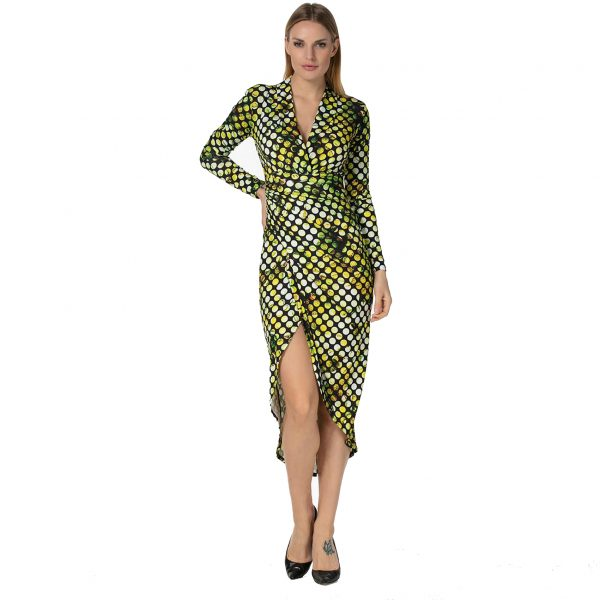 Green Polka Dot Print Ruched Long Sleeve Dress